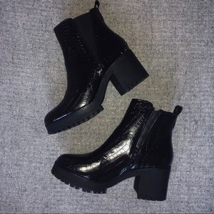 Missguided black croc Chelsea chunky ankle booties
